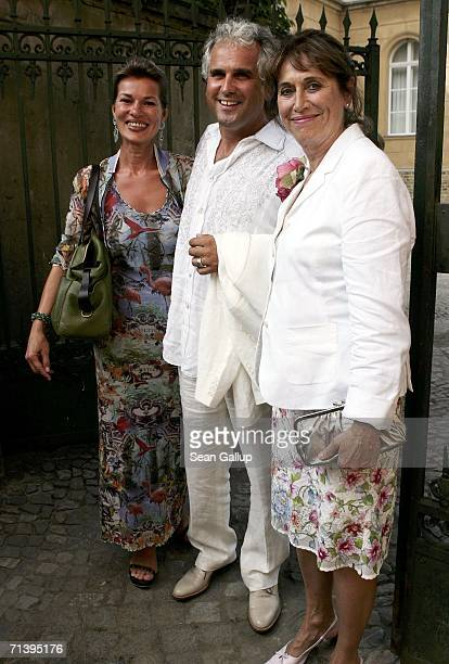 Producer Antonio Geissler his wife Astrid and friend Ingrid Werner attend the wedding of German TV host Guenther Jauch at the Friedenskirche church...