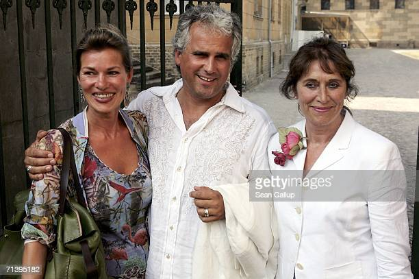 Producer Antonio Geissler his wife Petra and friend Ingrid Werner attend the wedding of German TV host Guenther Jauch at the Friedenskirche church on...