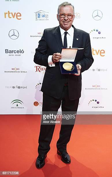 Producer Antonio Perez receives the Golden Medal Award at the Jose Maria Forque Awards 2016 at Teatro de la Maestranza on January 14 2017 in Seville...