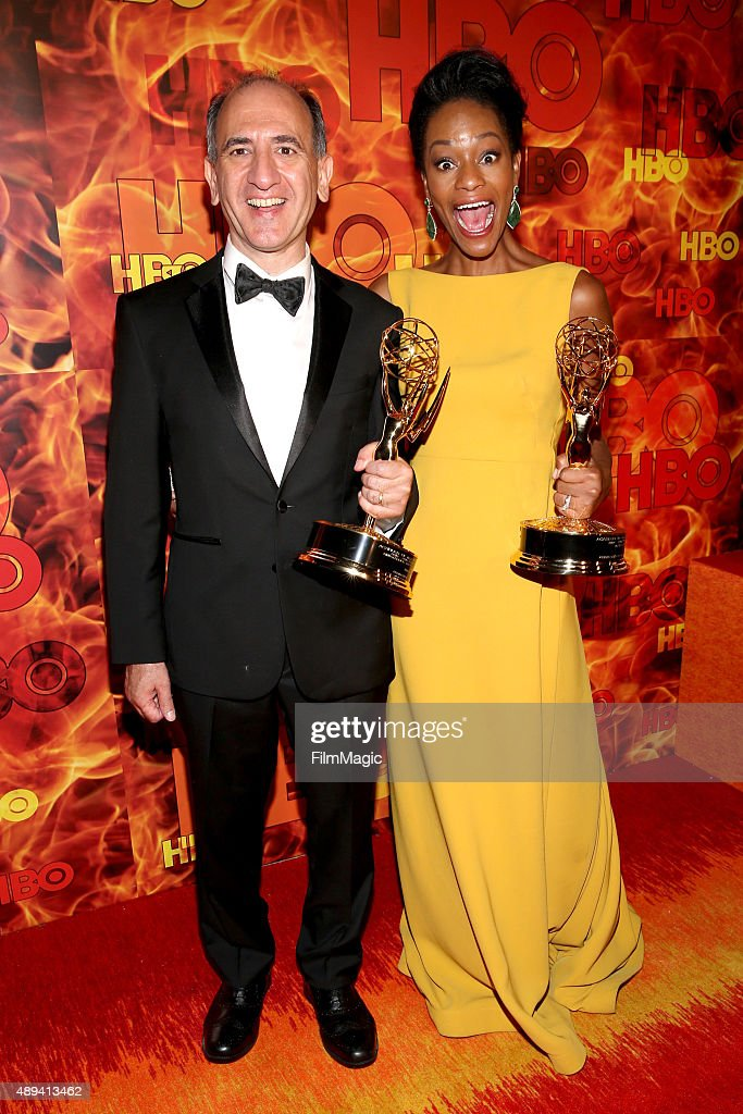 Producer Armando Iannucci and actress Sufe Bradshaw attend HBO's Official 2015 Emmy After Party at The Plaza at the Pacific Design Center on September 20, 2015 in Los Angeles, California.