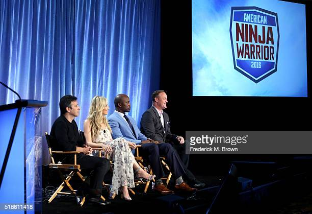 Producer Arthur Smith and TV personalities Kristine Leahy Akbar Gbajabiamila and Matt Iseman speak onstage during the 'American Ninja Warrior' panel...