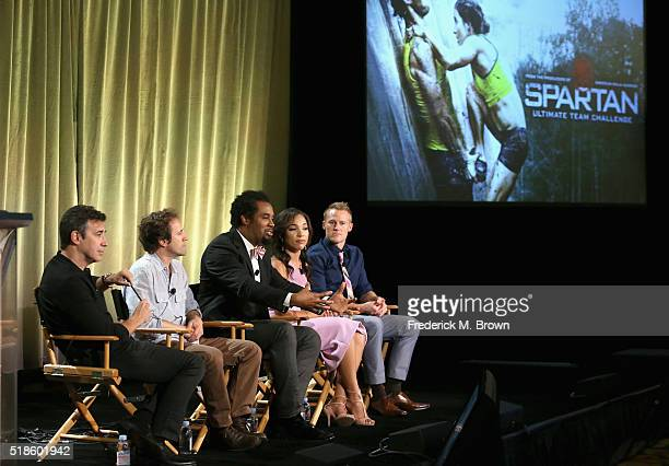 Producer Arthur Smith producer Anthony Storm and TV personalities Dhani Jones MJ Acosta and Evan Dollard speak onstage during the 'Spartan Ultimate...