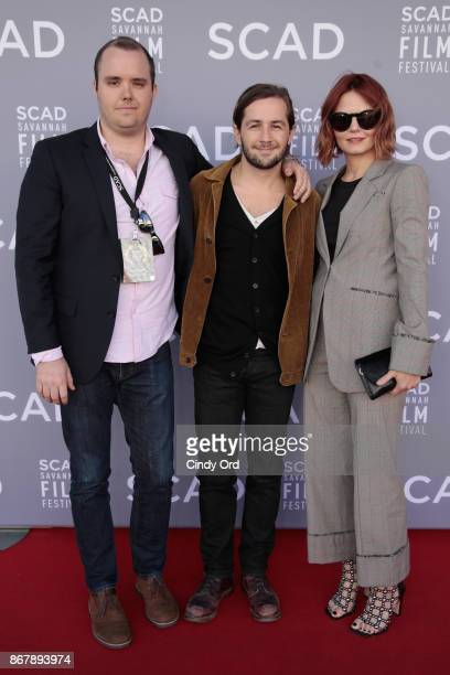 Producer Asher Bogart and actors Michael Angarano and Jennifer Morrison pose backstage at 'Sun Dogs' QA during the 20th Anniversary SCAD Savannah...