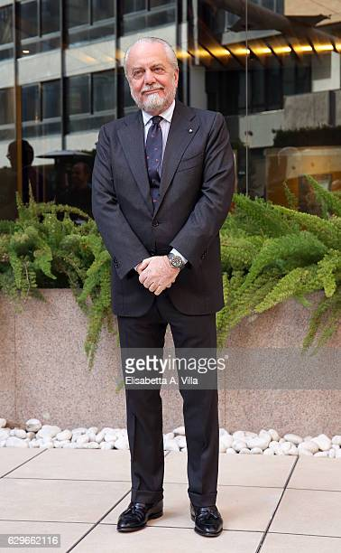 Producer Aurelio De Laurentiis attends a photocall for 'Natale A Londra Dio Salvi La Regina' at Visconti Palace on December 14 2016 in Rome Italy