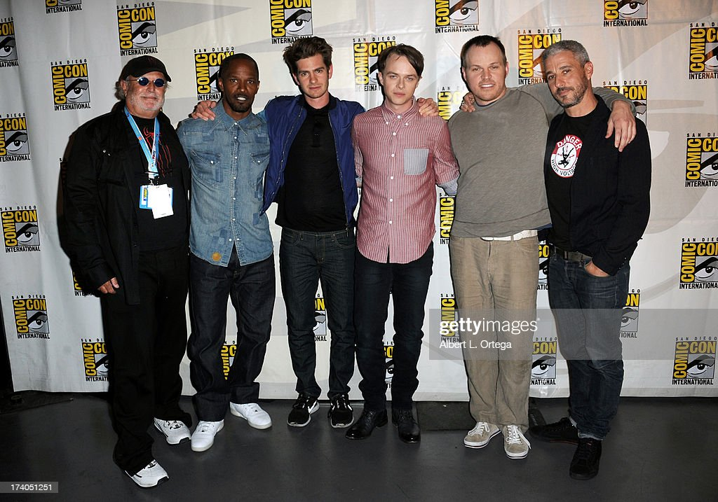 Producer Avi Arad, actor Jamie Foxx, actor Andrew Garfield, actor Dale DeHaan, director Marc Webb, and producer Matthew Tolmach speak onstage at 'At The Drive-In With Metallica' during Comic-Con International 2013 at San Diego Convention Center on July 19, 2013 in San Diego, California.