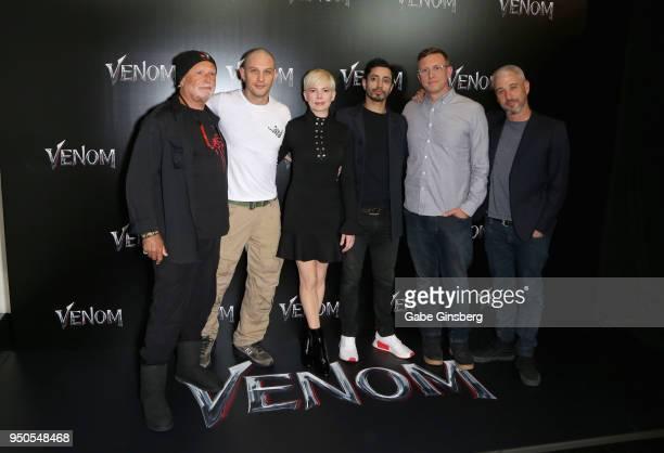 Producer Avi Arad actor Tom Hardy actress Michelle Williams actor Riz Ahmed director Ruben Fleischer and producer Matt Tolmach attend the CinemaCon...