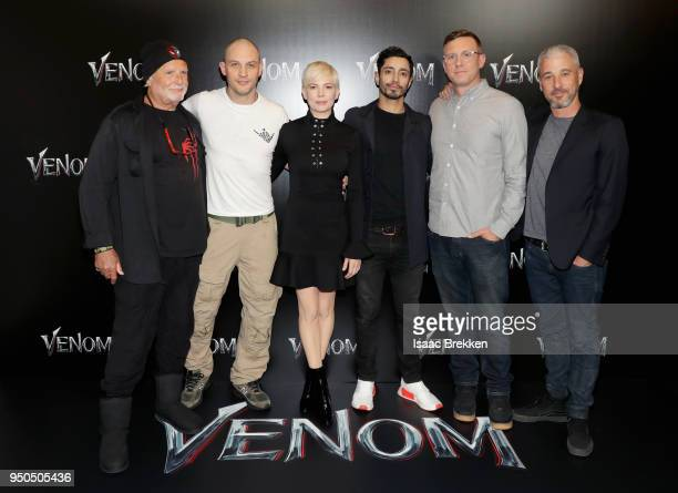 Producer Avi Arad actors Michelle Williams Tom Hardy Riz Ahmed director Ruben Fleischer and producer Matt Tolmach attend the CinemaCon 2018 Gala...