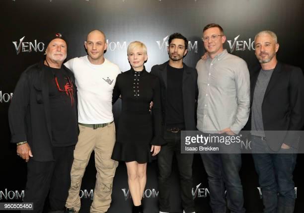 Producer Avi Arad actors Michelle Williams Tom Hardy Riz Ahmed director Ruben Fleischer and producer Matt Tolmach attend the CinemaCon 2018 Gala...