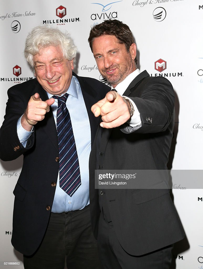 Producer Avi Lerner (L) and actor Gerard Butler attend A Gala to honor Avi Lerner and Millennium Films at The Beverly Hills Hotel on April 16, 2016 in Beverly Hills, California.