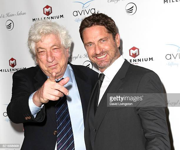 Producer Avi Lerner and actor Gerard Butler attend A Gala to honor Avi Lerner and Millennium Films at The Beverly Hills Hotel on April 16 2016 in...