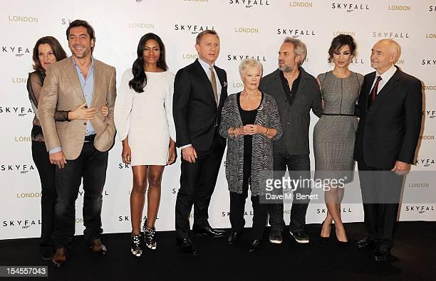 Producer Barbara Broccoli, Javier Bardem, Naomie Harris, Daniel Craig, Dame Judi Dench, director Sam Mendes, Berenice Marlohe and producer Michael G....