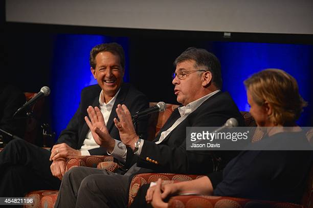 Producer Barry Adelman ACM's Bob Romeo and ACM's Lisa Lee speak during the Fifty Years Of The ACM Awards Panel Discussion at Country Music Hall of...