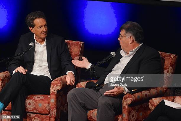 Producer Barry Adelman and ACM's Bob Romeo speak during the Fifty Years Of The ACM Awards Panel Discussion at Country Music Hall of Fame and Museum...