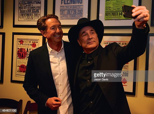 Producer Barry Adelman and Musician Clint Black arrive at the Fifty Years Of The ACM Awards Panel Discussion at Country Music Hall of Fame and Museum...