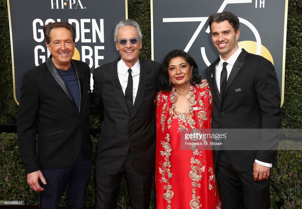 Producer Barry Adelman, executive producer Allen Shapiro, HFPA President Meher Tatna, and producer Michael Mahan attend The 75th Annual Golden Globe Awards at The Beverly Hilton Hotel on January 7, 2018 in Beverly Hills, California.
