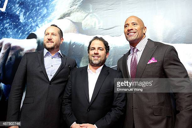 Producer Beau Flynn ,Film director Brett Ratner, Actor Dwayne Johnson attend the Chinese Premiere of Hercules at the Wanda CBD on October 16, 2014 in...