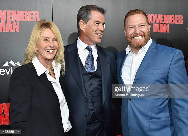 Producer Beau St Claire actor Pierce Brosnan and Relativity Media CEO Ryan Kavanaugh arrive to the World Premiere of Relativity Media's The November...