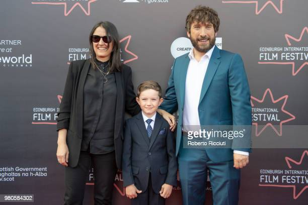 Producer Belen Atienza actor Matthew Stagg and director Sergio G Sanchez attend a photocall for the UK Premiere of 'The Secret of Marrowbone' during...