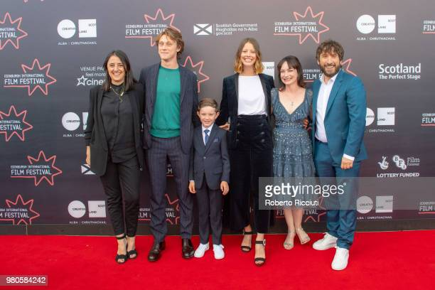 Producer Belen Atienza actors George MacKay Matthew Stagg Mia Goth and Nicola Harrison and director Sergio G Sanchez attend a photocall for the UK...
