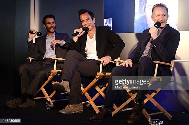 Producer Ben Silverman actor Will Arnett actor Jason Bateman and documentary filmmaker Morgan Spurlock visit the Apple Store West 14th Street on...