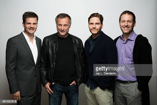 Producer Benjamin Herrman actor Michael Nyqvist actor Daniel Bruhl and Director Florian Gallenberger from the film 'Colonia' are photographed for Los...