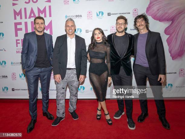 Producer Benjamín Doménech Jaie Laplante actress Lali Esposito and director Gonzalo Tobal attend The Accused premiere during the 2019 Miami Film...