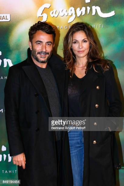 Producer Benoit Ponsaille and actress Nadia Fares attend the 'Gauguin Voyage de Tahiti' Paris Premiere at Cinema Gaumont Capucine on September 18...