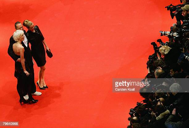 Producer Bernd Eichinger his wife Katja Eichinger and daughter Nina Eichinger attend the 'Shine A Light' Premiere as part of the 58th Berlinale Film...