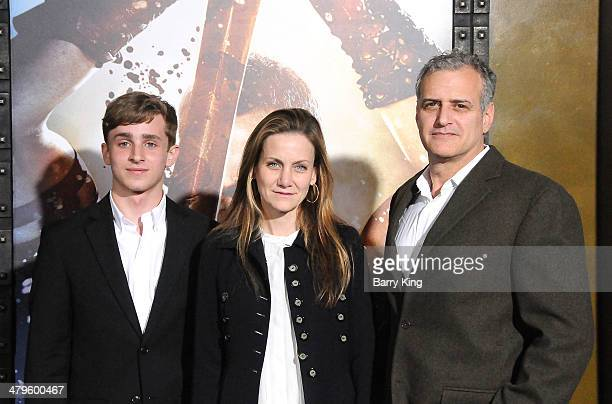 Producer Bernie Goldmann writer Melissa Wallack and guest arrive at the Los Angeles Premiere '300 Rise Of An Empire' on March 4 2014 at TCL Chinese...