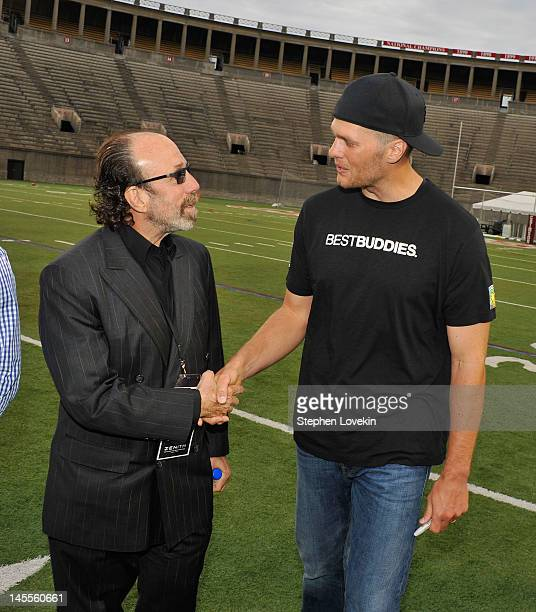 Producer Bernie Yuman and NFL player Tom Brady participates in the Tom Brady Football Challenge For The Best Buddies Challenge Hyannis Port at...