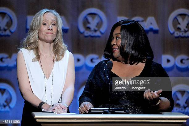 Producer Betsy Beers and writer/producer Shonda Rhimes accept the Diversity Award onstage at the 66th Annual Directors Guild Of America Awards held...