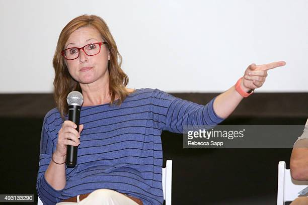 Producer Betsy Sullenger speaks onstage at the Hollywood Today panel at the 1st Annual Laguna Film Festival Day 2 on October 17 2015 in Laguna Niguel...