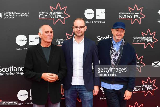 Producer Bill Curbishley writer Oliver Veysey and director Bryan Higgins attend a photocall for the World Premiere of 'Access All Areas' during the...
