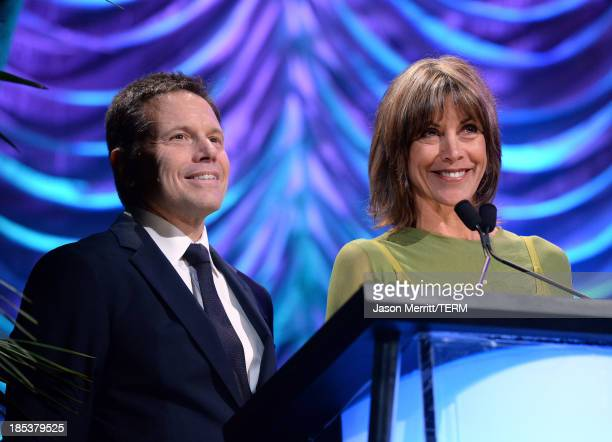 Producer Bill Gerber and actress Wendie Malick speak onstage during the 23rd Annual Environmental Media Awards presented by Toyota and Lexus at...