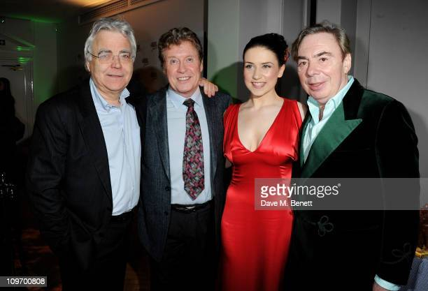 Producer Bill Kenwright, actors Michael Crawford, Danielle Hope and Lord Andrew Lloyd Webber attend an after party following press night for Andrew...