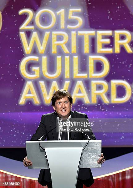 Producer Bill Lawrence speaks onstage at the 2015 Writers Guild Awards LA Ceremony at the Hyatt Regency Century Plaza on February 14 2015 in Century...