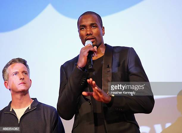 Producer Bill Simmons and NBA player Serge Ibaka speak onstage at the premiere of 'Son of the Congo' during the 2015 SXSW Music Film Interactive...