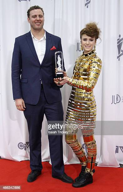 Producer Blayre Ellestad and Kiesza pose in the press room the JUNO Gala Dinner & Awards at Hamilton Convention Centre on March 14, 2015 in Hamilton,...
