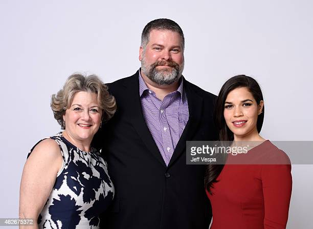 Producer Bonnie Arnold writer/director Dean DeBlois actress America Ferrera pose for a portrait during the 87th Academy Awards Nominee Luncheon at...
