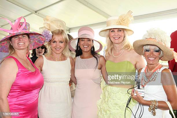 Producer Bonnie Comley wears Philip Treacy hat Katlean De Monchy Cassandra Seidenfeld wears Anne Moore hat Sara HerbertGalloway wears a Whittall Shon...