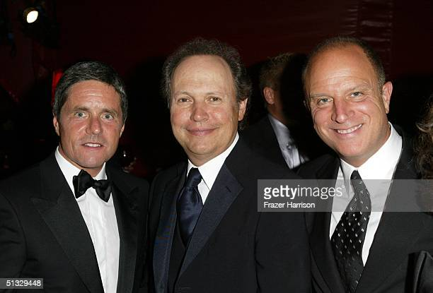 Producer Brad Grey, actor Billy Crystal and Chris Albrecht, chairman of HBO pose at HBO?S post Emmy party following the 56th annual Primetime Emmy...