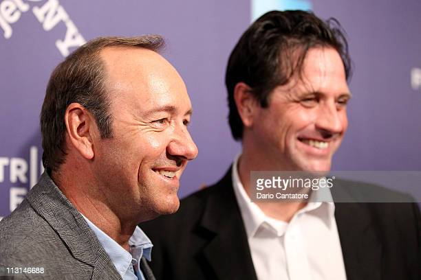 Producer Brad Koepenick and actor Kevin Spacey attend the premiere of Shakespeare High during the 2011 Tribeca Film Festival at SVA Theater on April...