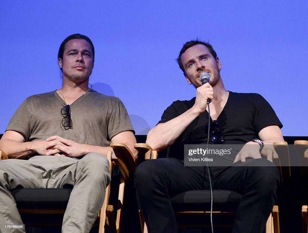 Producer Brad Pitt and actor Michael Fassbender attend a Q&A for the film 12 Years a Slave at the 2013 Telluride Film Festival - Day 3 on August 31, 2013 in Telluride, Colorado.