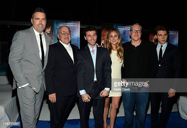 Producer Braxton Pope director Paul Schrader actors James Deen Amanda Brooks writer Bret Easton Ellis and actor Nolan Gerard Funk arrives at the...