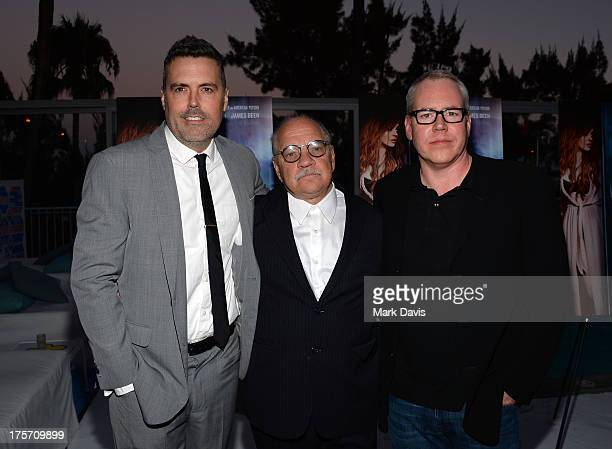 Producer Braxton Pope director Paul Schrader and writer Bret Easton Ellis arrive at the premiere of IFC Film's The Canyons at The Standard Hotel on...