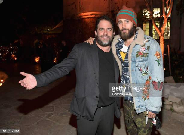 Producer Brett Ratner and actor Jared Leto attend Amazon Original Series American Playboy The Hugh Hefner Story premiere event at The Playboy Mansion...