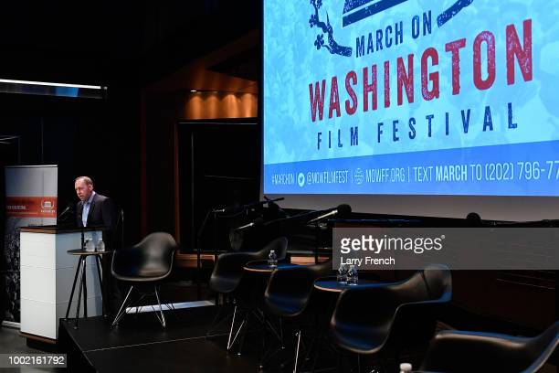 CBS producer Brian Davis speaks at Civil Rights and Equal Opportunity in American Sports at the March On Washington Film Festival on July 19 2018 in...