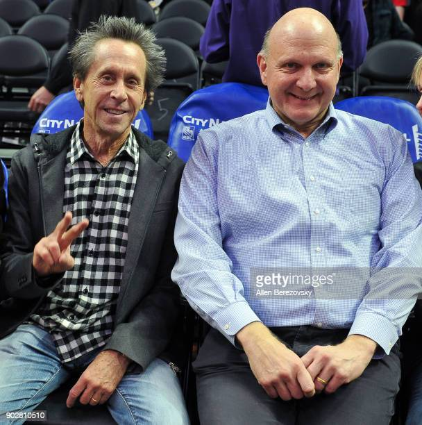 Producer Brian Grazer and Clippers' owner Steve Ballmer attend a basketball game between the Los Angeles Clippers and the Atlanta Hawks at Staples...