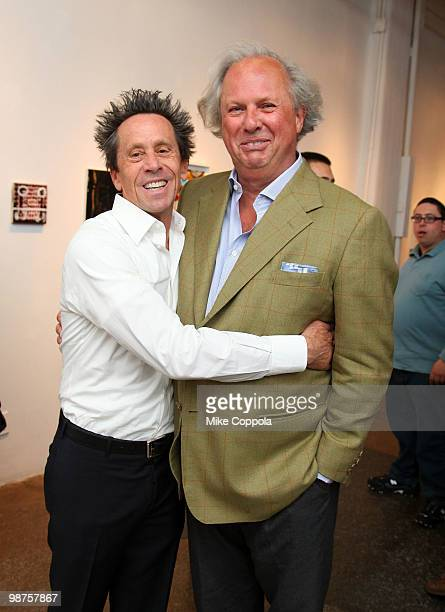 """Producer Brian Grazer and Editor-in-chief U.S. Vanity Fair Graydon Carter attend the art show """"Theurgy"""" at the Elga Wimmer Gallery on April 29, 2010..."""