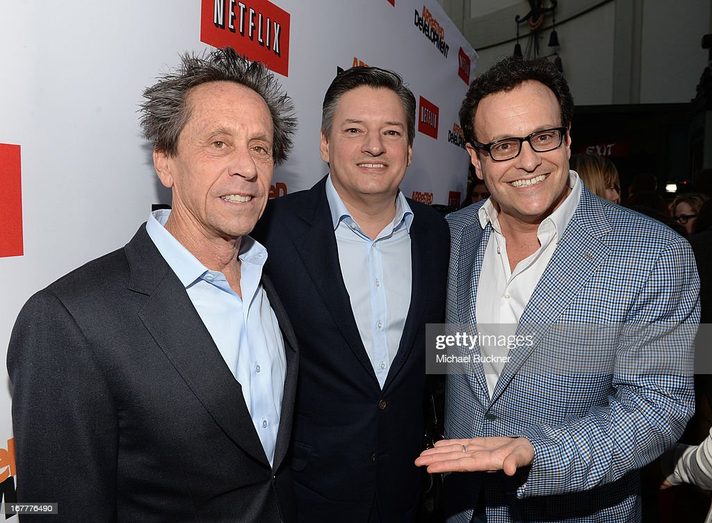 Producer Brian Grazer, Ted Sarandos, Chief Content Officer Netflix and producer Mitchell Hurwitz arrive at the Los Angeles Premiere of Season 4 of Netflix's 'Arrested Development' at the TCL Chinese Theatre on April 29, 2013 in Hollywood, California.